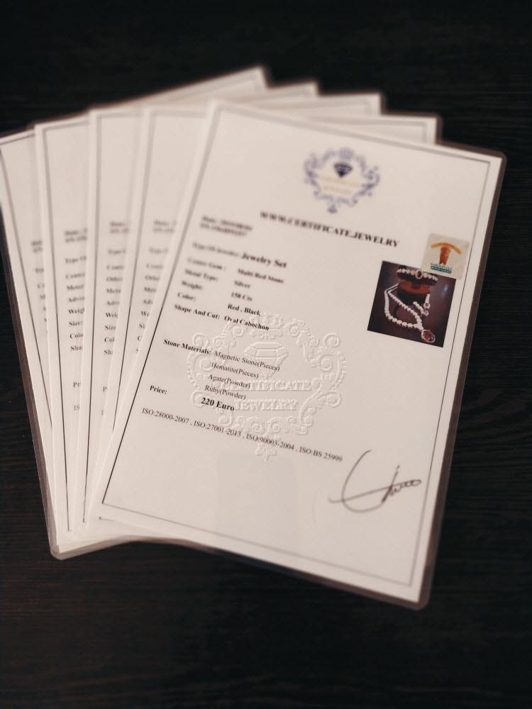 certificate jewelry, jewelry certificate,gem certificate